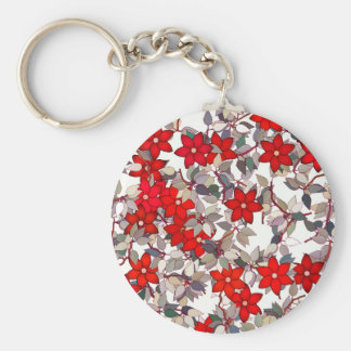 Flores y hojas rojas de los gris plateados llavero