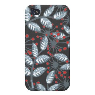 flores y hojas rojas del azul en oscuridad iPhone 4 carcasa