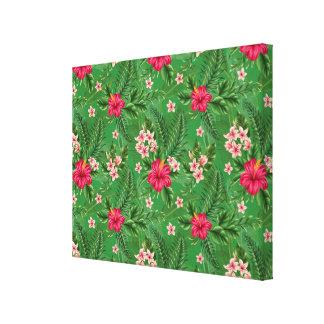 Flores y hojas rosadas del hibisco lona estirada galerías
