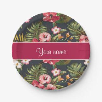 Flores y hojas tropicales elegantes del hibisco platos de papel