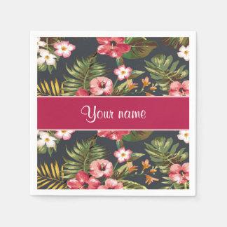 Flores y hojas tropicales elegantes del hibisco servilletas desechables