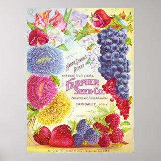 Flores y impresión de la cubierta del catálogo del póster