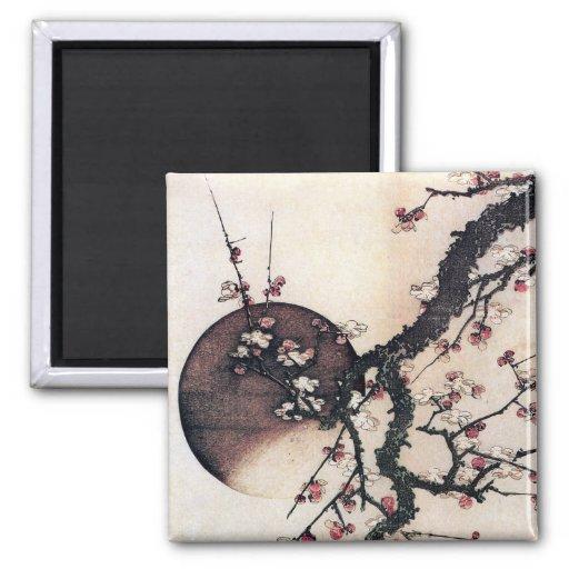 Flores y la luna, Hokusai del ciruelo Imán Cuadrado
