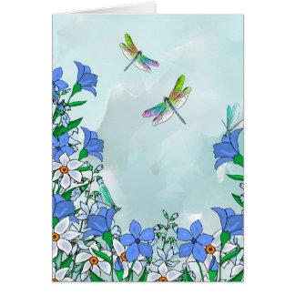 Flores y libélulas azules felicitación