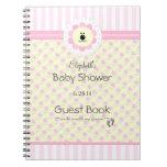 Flores y libro de visitas rosados de la ducha del  libreta