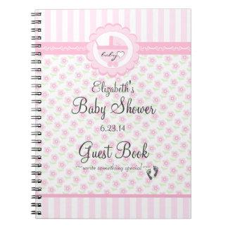 Flores y libro de visitas rosados de la ducha del cuadernos