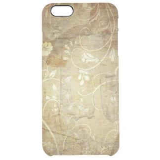 flores y líneas marrones del remolino del vintage funda clearly™ deflector para iPhone 6 plus de unc