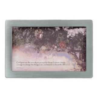 Flores y linternas del rezo de la serenidad hebillas de cinturon rectangulares