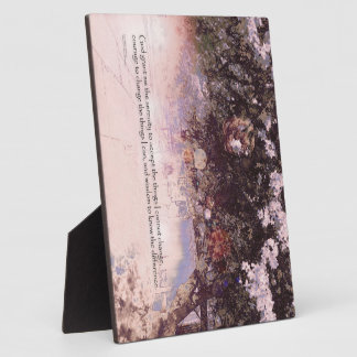 Flores y linternas del rezo de la serenidad placa de madera