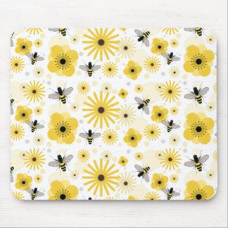 Flores y lunares Mousepad de las abejas