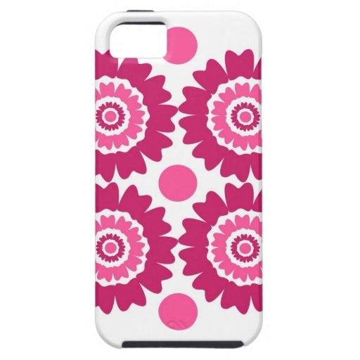 Flores y lunares rosados modernos iPhone 5 carcasa