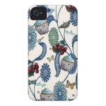Flores y magdalenas azules iPhone 4 fundas
