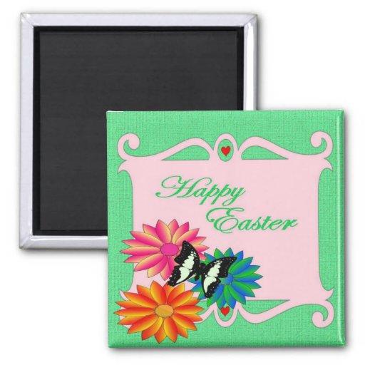 Flores y mariposa coloridas de Pascua Imán Cuadrado