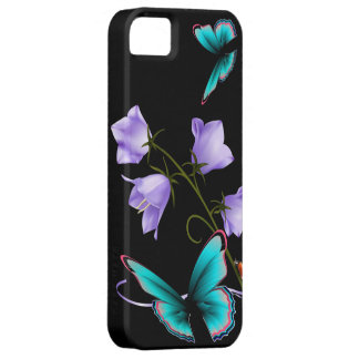 Flores y mariposa del art déco iPhone 5 cárcasa
