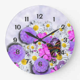 Flores y mariposa reloj redondo grande
