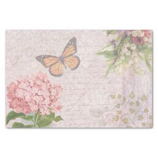 Flores y mariposa rosadas del vintage papel de seda pequeño