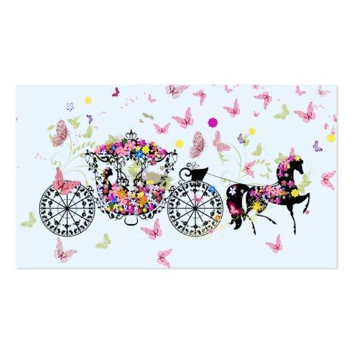 Flores y mariposas 2 del caballo y del carro del b plantillas de tarjetas de visita