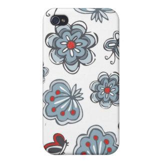 flores y mariposas azules y rojas en blanco iPhone 4 carcasa