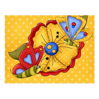 Flores y mariposas bonitas postales