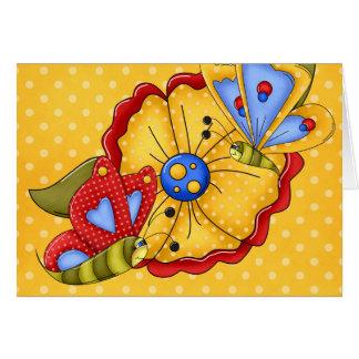 Flores y mariposas bonitas tarjeta de felicitación