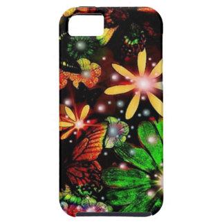 Flores y mariposas coloridas iPhone 5 funda