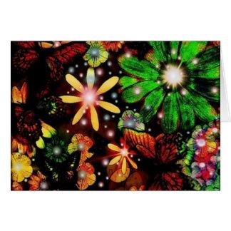 Flores y mariposas coloridas tarjeton