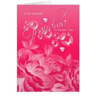 Flores y mariposas de la tarjeta del día de madre