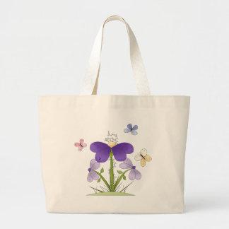 Flores y mariposas del campo bolsa de mano