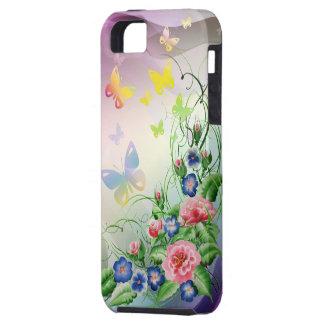 Flores y mariposas finas iPhone 5 Case-Mate cobertura