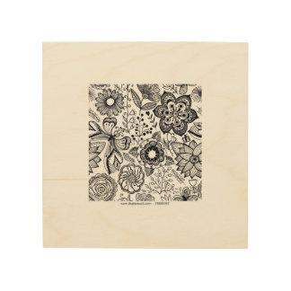 flores y mariposas impresión en madera