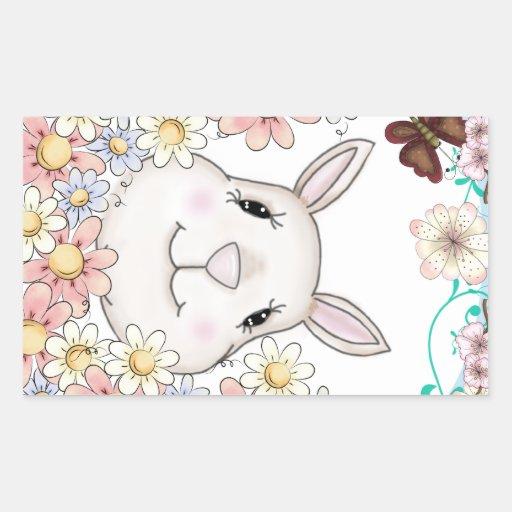 Flores y mariposas lindas del conejo de conejito pegatina rectangular
