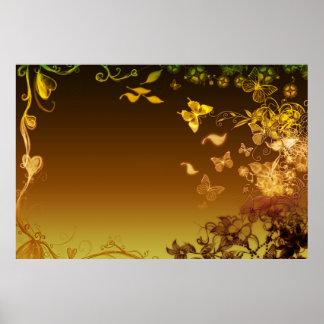 Flores y mariposas impresiones