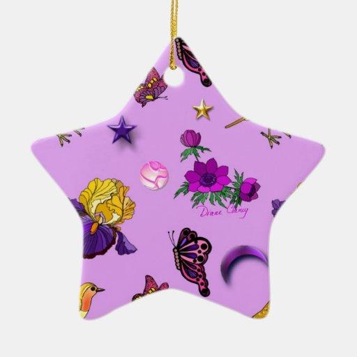 Flores y mariposas - pájaros y estrellas adorno navideño de cerámica en forma de estrella