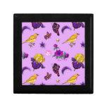Flores y mariposas - pájaros y estrellas caja de recuerdo