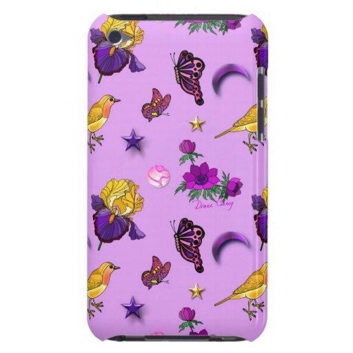 Flores y mariposas - pájaros y estrellas iPod touch carcasas