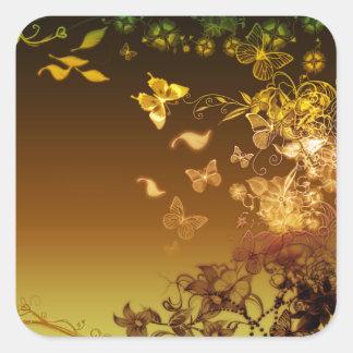 Flores y mariposas pegatinas cuadradas