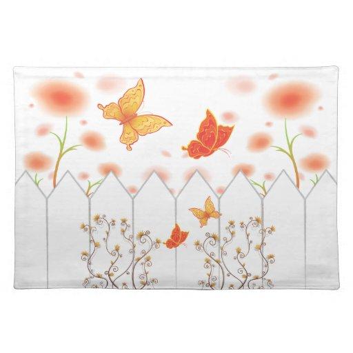 Flores y mariposas Placemat del otoño Mantel