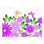 Flores y mariposas - postal