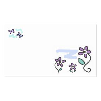 Flores y mariposas púrpuras tarjetas de visita