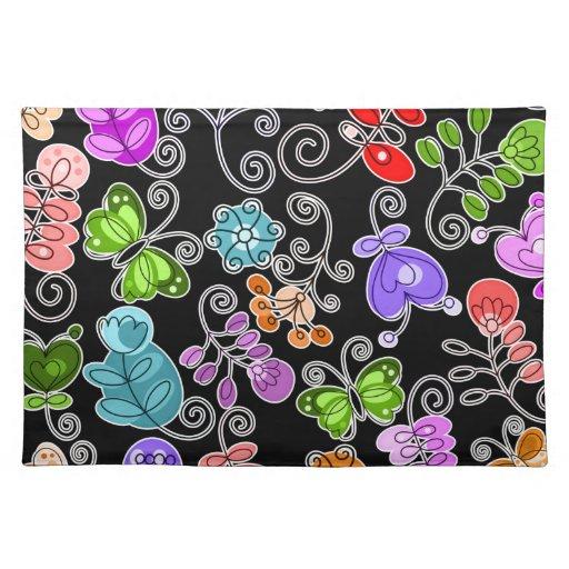 flores y mariposas retras mantel