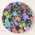 flores y mariposas retras posavasos diseño