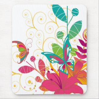 Flores y mariposas tapete de raton