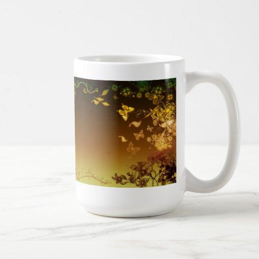 Flores y mariposas tazas de café