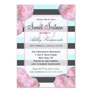 """Flores y menta rosada, gris de carbón de leña y invitación 3.5"""" x 5"""""""