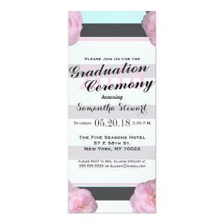 """Flores y menta rosada, gris de carbón de leña y invitación 4"""" x 9.25"""""""