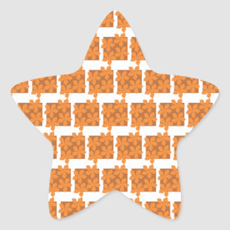 Flores y modelo anaranjados de los cuadrados pegatina en forma de estrella