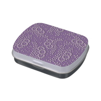 Flores y modelo japonés floral púrpura de los latas de dulces