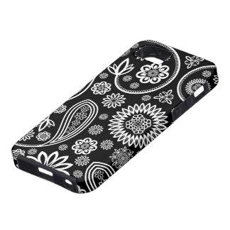 Flores y modelo retros blancos y negros de los iPhone 5 Case-Mate coberturas