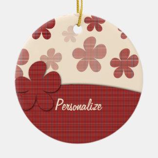 Flores y modelo rojos de la materia textil adorno navideño redondo de cerámica