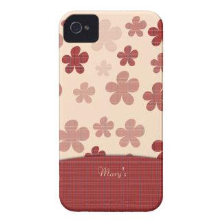 Flores y modelo rojos de la materia textil iPhone 4 Case-Mate carcasa